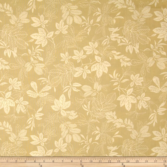 108 Wide Quilt Back Modern Leaf Gold Tan Fabric