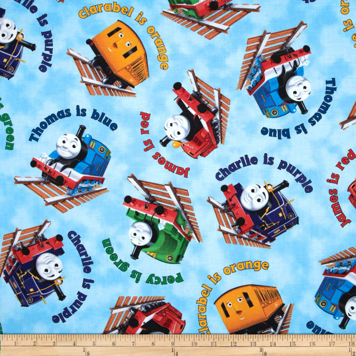 Thomas friends the color express color names toss blue for Fabric with trains pattern