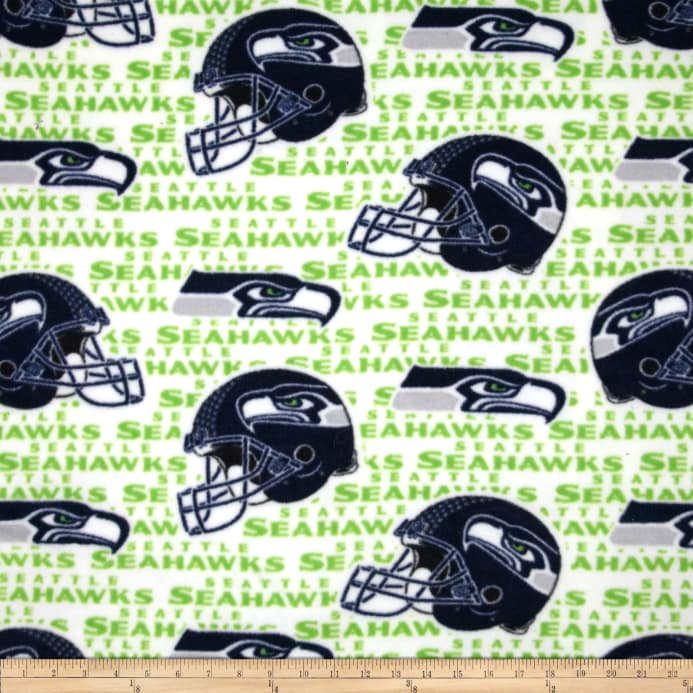 NFL Fleece Seattle Seahawks Navy Green - Discount Designer Fabric ... 59d87fdeb
