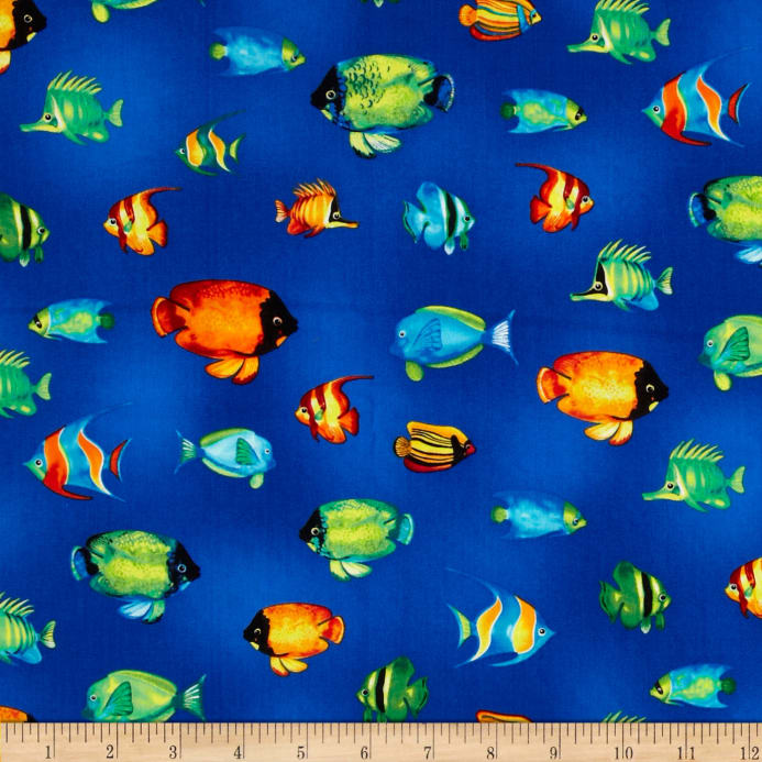 Tropical reef small fish ocean discount designer fabric for Where to buy saltwater fish