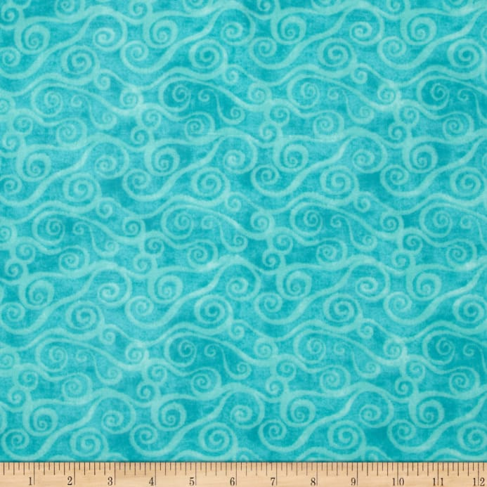 108 Wide Quilt Back Flannel Swirly Scroll Teal Discount Designer