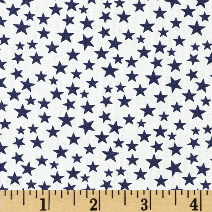Made in the USA Stars Navy/White - Discount Designer Fabric ...