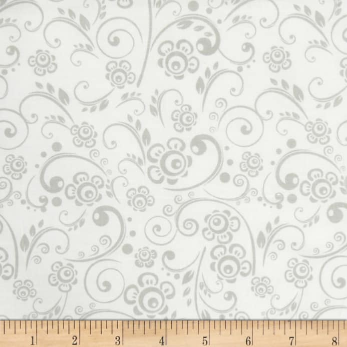 Get Back! Floral Swirl Gray/White - Discount Designer Fabric ...