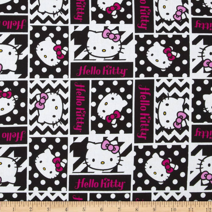 Hello Kitty Black And White Geometric Face Patch Black