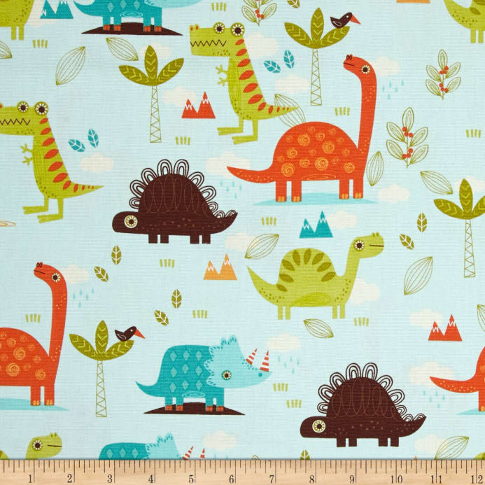 Riley blake home decor dinosaur blue discount designer for Wholesale childrens fabric