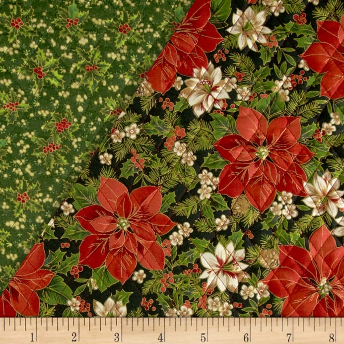 Christmas Day Double Sided Quilted Poinsettias Amp Holly Red