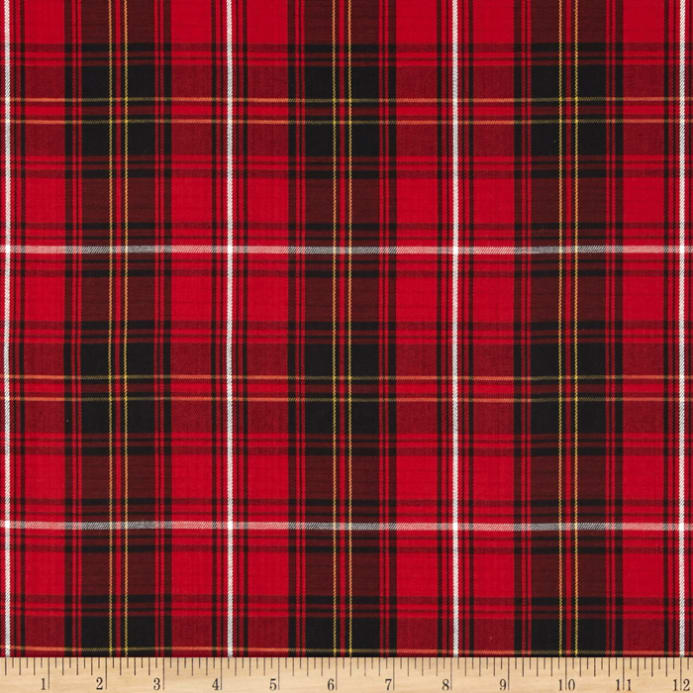 House Of Wales Lawn Plaid Red Discount Designer Fabric