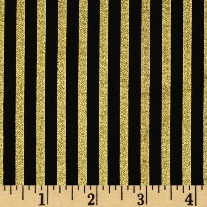 Gold Standard Metallic Shirting Stripe Black/Gold - Discount ...