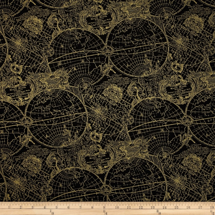 World Map Print Fabric.Gold Standard Metallic New World Map Black Gold Discount Designer