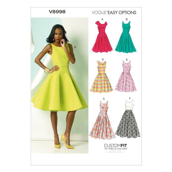 Vogue Misses' Dress Pattern V40 Size A40 Discount Designer Fabric Impressive A Line Dress Pattern