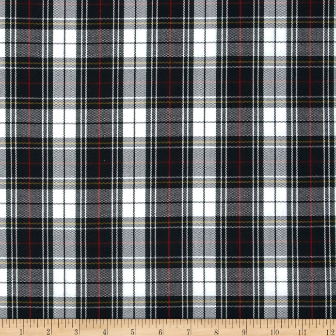Polyester Uniform Plaid Black White Red Poplin Discount