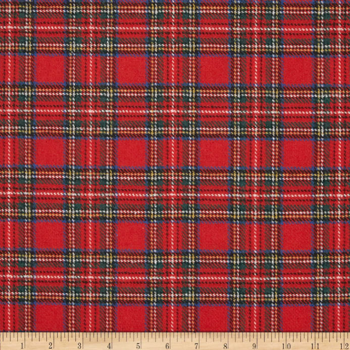 Washable Wool Plaid Red Blue Green Discount Designer