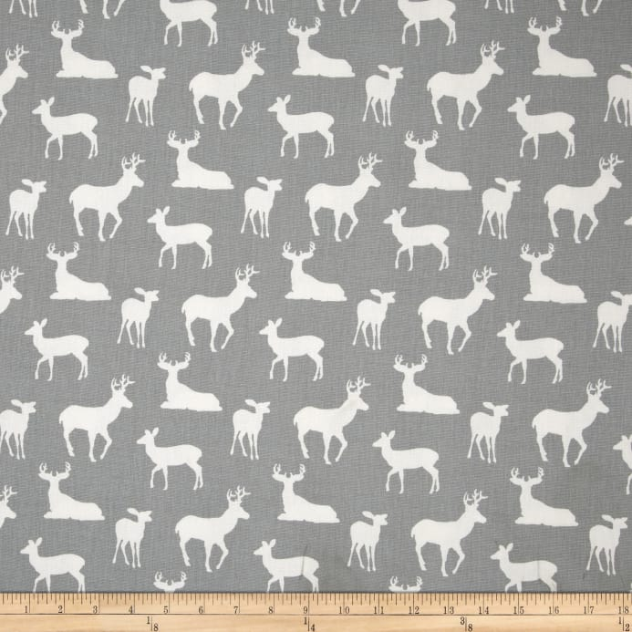 Premier Prints Deer Silhouette Cool Grey Discount Designer Fabric