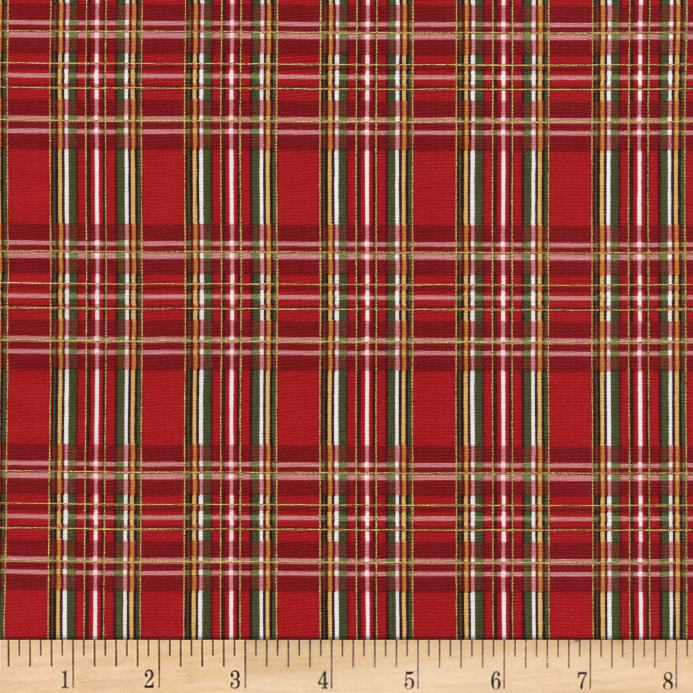 Zoom Timeless Treasures Country Christmas Metallic Plaid Red