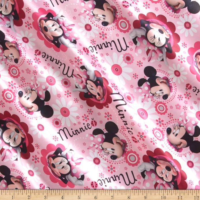 Zoom Disney Minnie Face Flower Toss Brushed Back Satin Pink