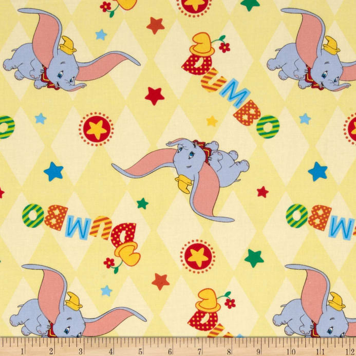 d04e56be897 Disney Dumbo Flying Toss Yellow - Discount Designer Fabric - Fabric.com