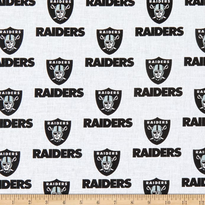 NFL Cotton Broadcloth Oakland Raiders Black White - Discount ... 3f2e09f36