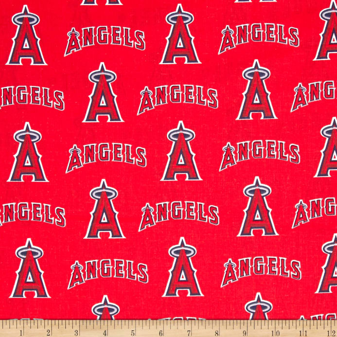 Mlb Cotton Broadcloth Los Angeles Angels Of Anaheim Redblue