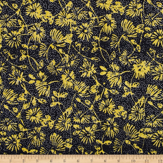 Island Batik Yellow Submarine Flowers Blackyellow Discount