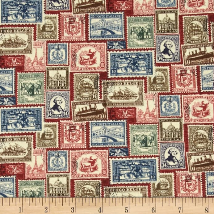 Vintage Travel Stamps Red Fabric
