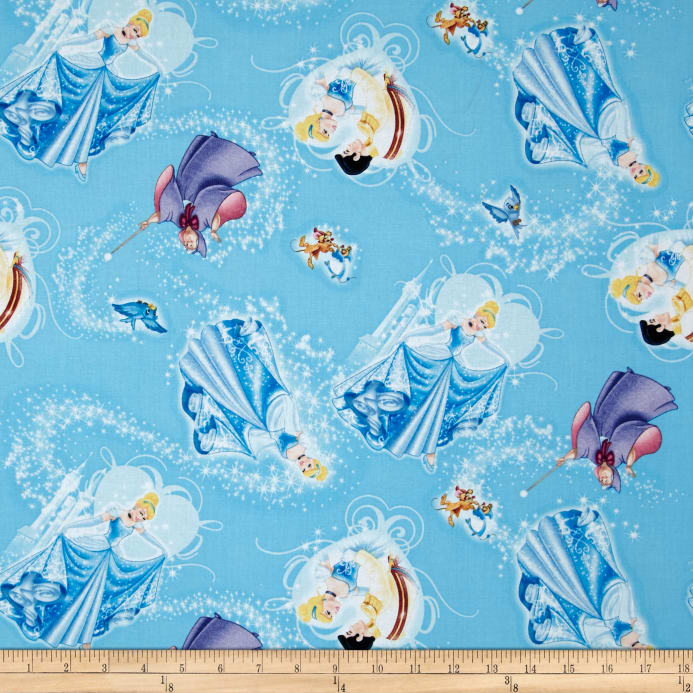 Disney princess movie cinderella character toss blue for Childrens dress fabric