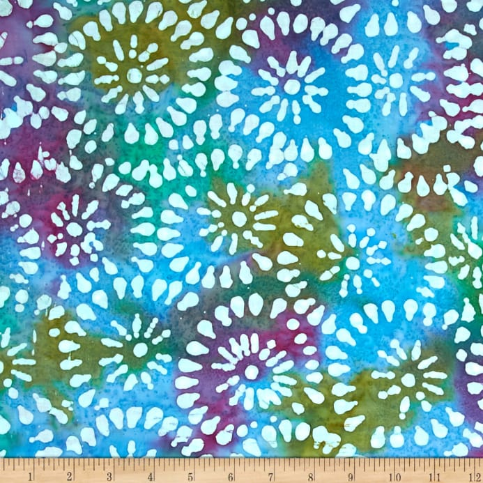 Indian Batik Sarasota Circles Blue Purple Discount