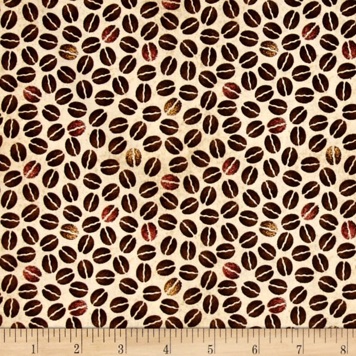 Beige And Coffee Plaid Print Linen Contemporary Bedroom: Daily Grind Coffee Beans Beige