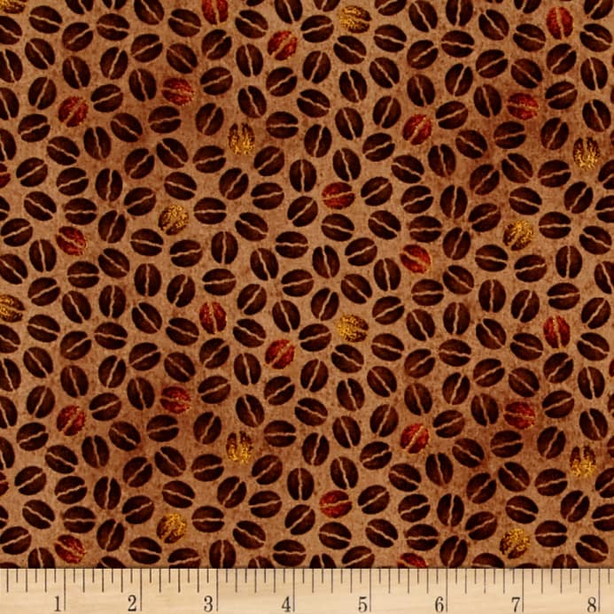 Daily Grind Coffee Beans Brown - Discount Designer Fabric - Fabric.com