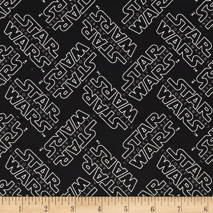 Star wars the force awakens logo black discount designer for Star design fabric