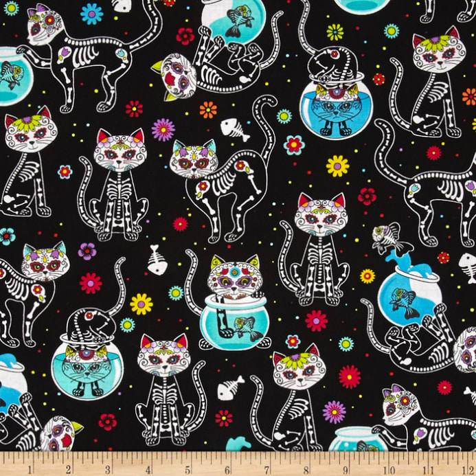 Timeless Treasures Day Of The Dead Kitty Black Discount