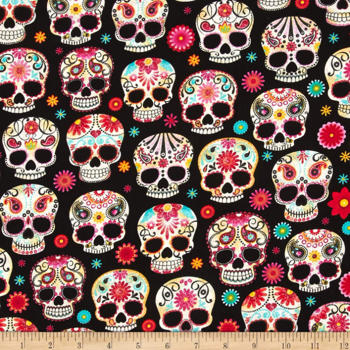 Zoom Timeless Treasures Day Of The Dead Skulls Black