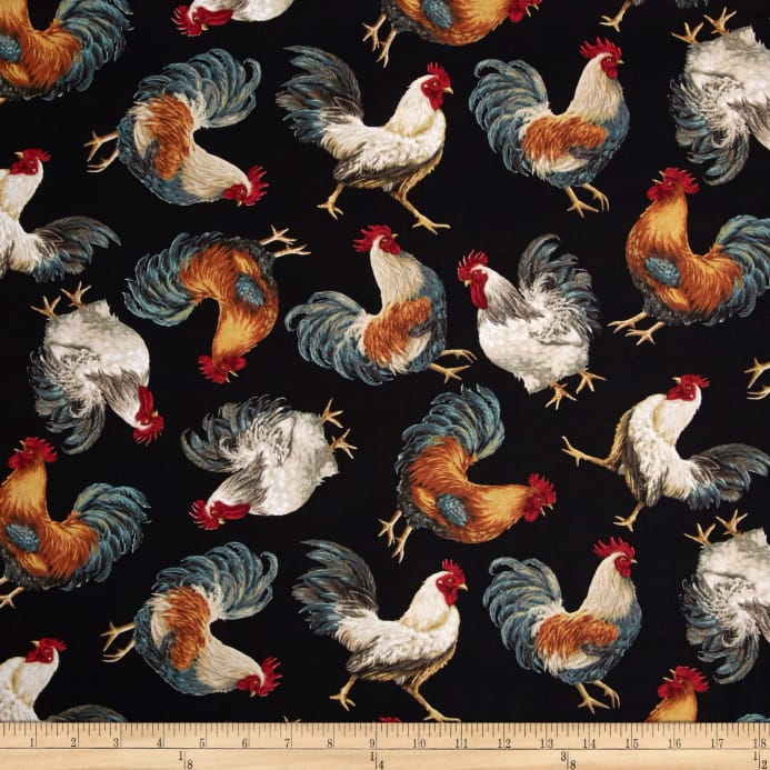 Zoom Timeless Treasures French Country Tossed Roosters Black