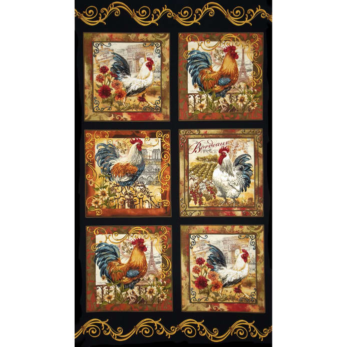 Zoom Timeless Treasures French Country Rooster Panel Black