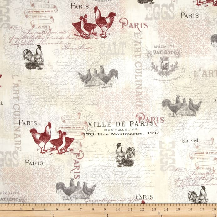 Zoom French Country Rooster Writing Multi