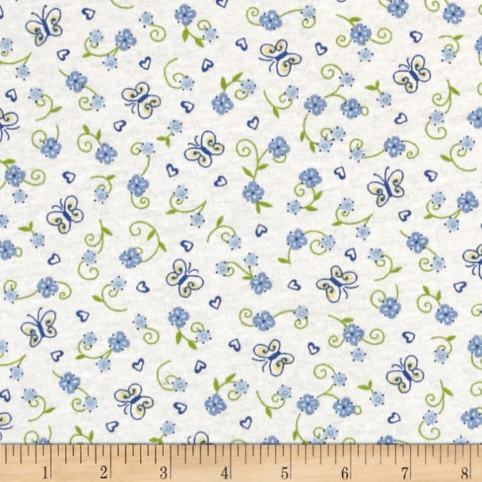 Children cotton knit flowers blue white discount for Designer childrens fabric