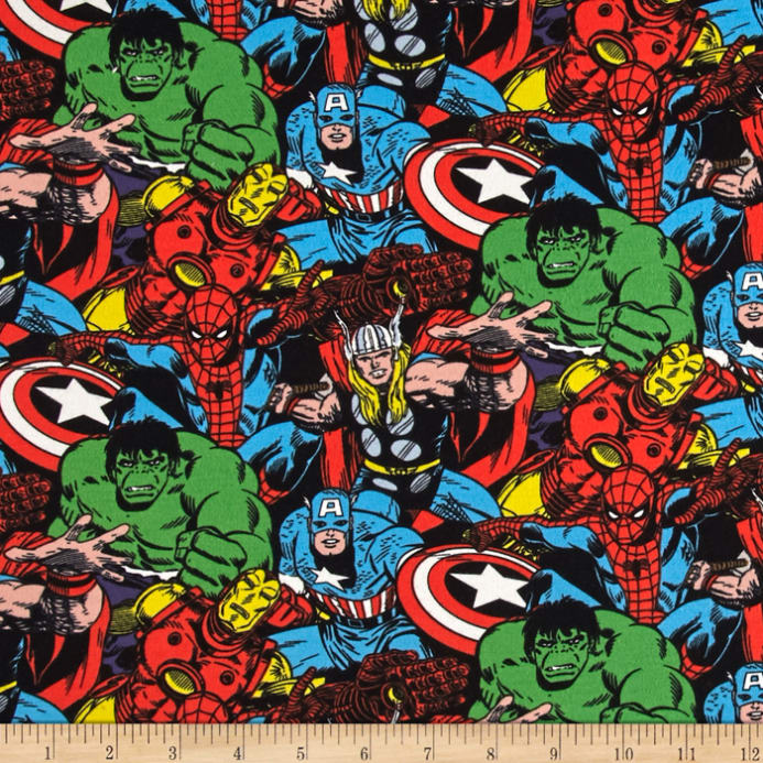 Marvel Jersey Knit Packed Characters Multi