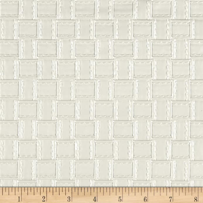 Faux Leather Basketweave White Discount Designer Fabric Fabric