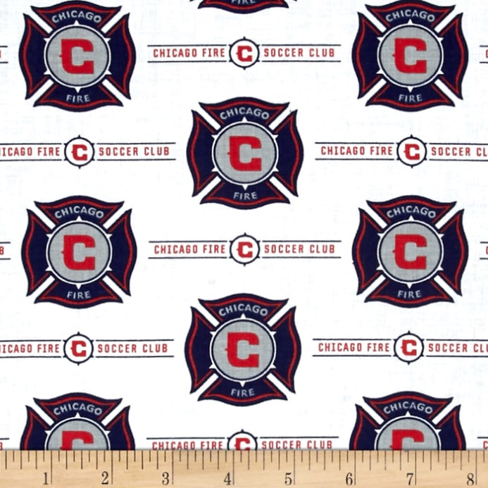 Mls Cotton Broadcloth Chicago Fire White Discount Designer Fabric