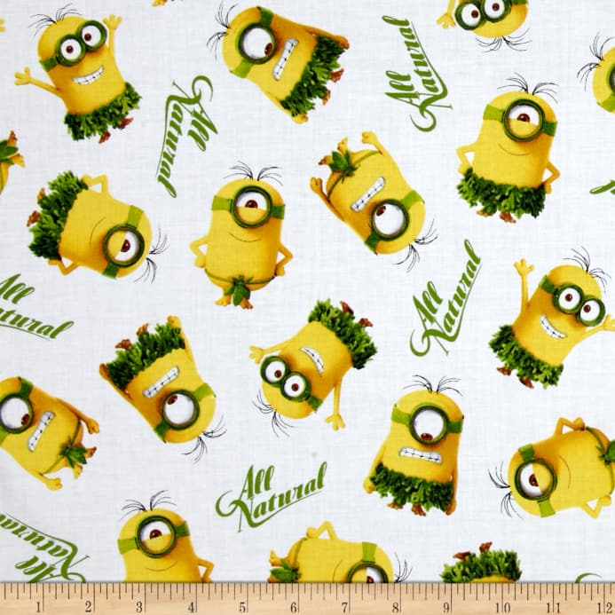 Minions All Natural Minion Toss White - Discount Designer Fabric ...