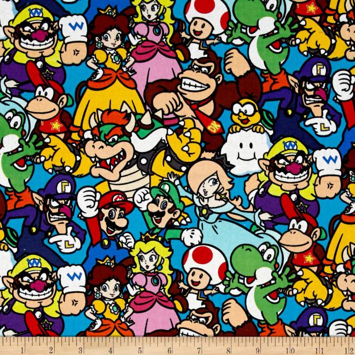 Nintendo super mario packed characters multi discount for Children s character fabric