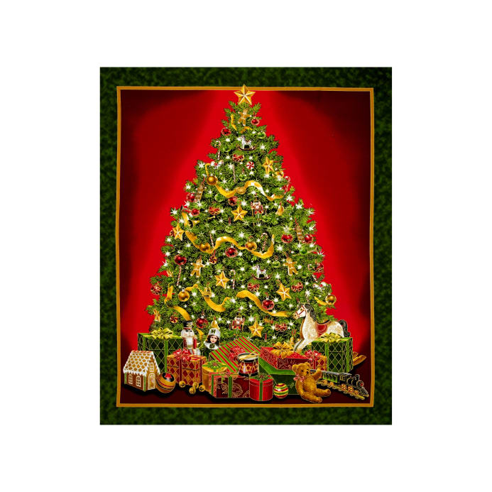 Zoom Qt Fabrics Best Time Of The Year Metallic Christmas Tree 35 Panel Green