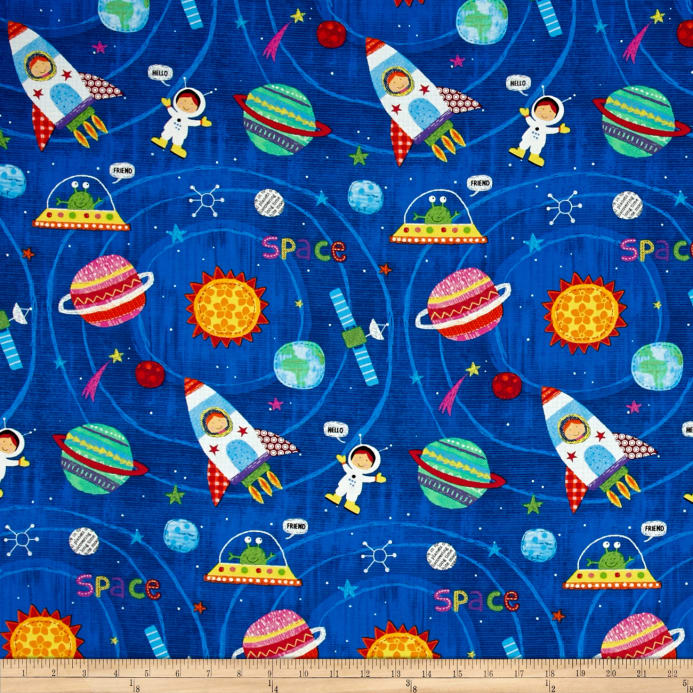 Alexander henry monkey 39 s business my space friend royal for Space themed fleece fabric