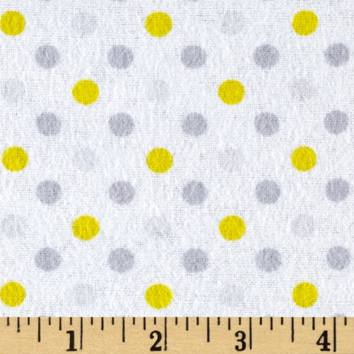 Flannel Dot Party Yellow/Grey - Discount Designer Fabric - Fabric.com