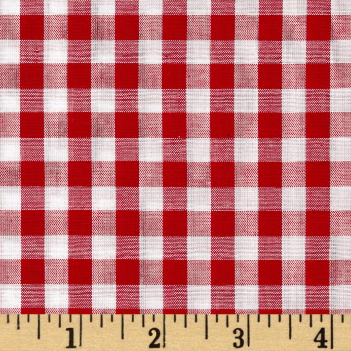 richcheck 60 gingham check 1 4 red discount designer fabric