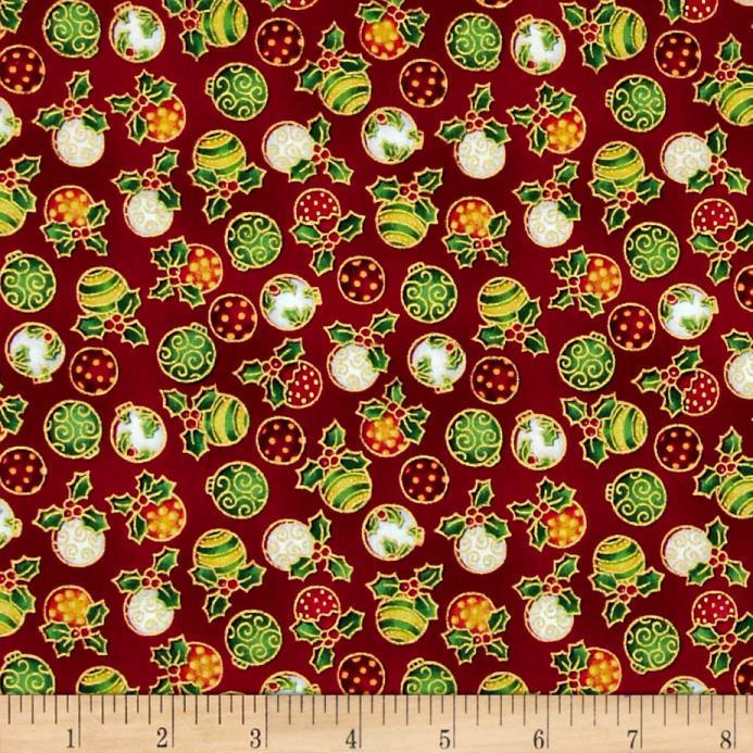 Seasons greetings ornaments red discount designer fabric fabric zoom seasons greetings ornaments red m4hsunfo