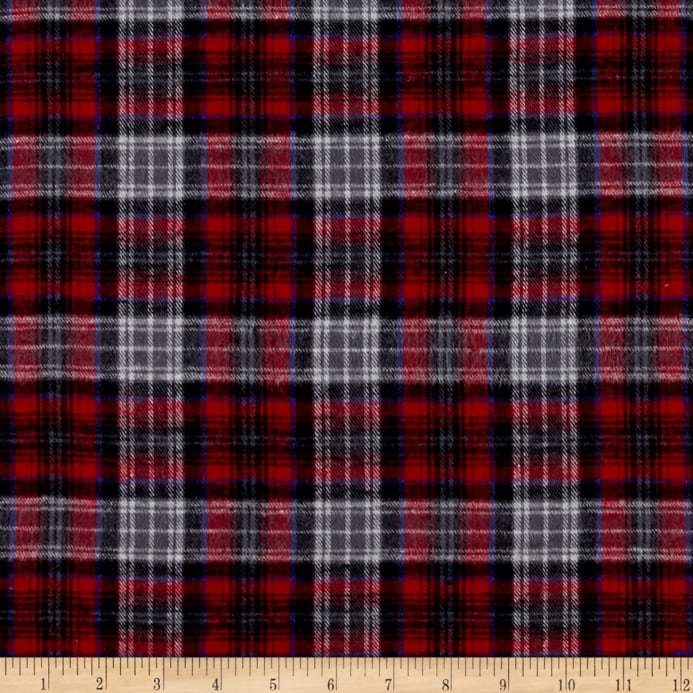 Yarn Dyed Flannel Plaid Red Gray Discount Designer