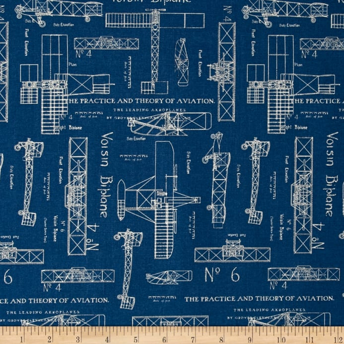 Theory of aviation blueprint blue discount designer fabric zoom theory of aviation blueprint blue malvernweather Image collections
