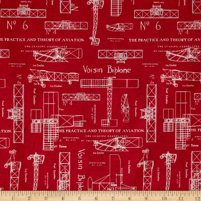 Theory of aviation blueprint red discount designer fabric fabric zoom theory of aviation blueprint red malvernweather Image collections