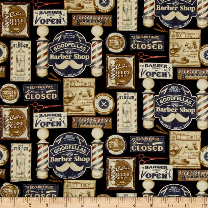 Barber Shop Shave And Haircut Blackmulti Discount Designer Fabric