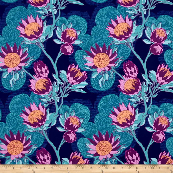 Zoom Joel Dewberry Cali Mod Home Decor Sateen Twill Protea Midnight